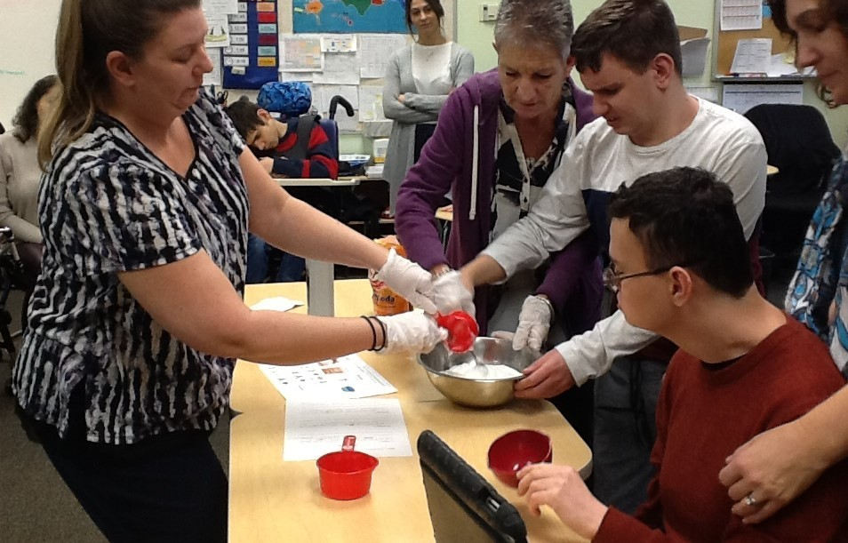 students making their own snow in science class