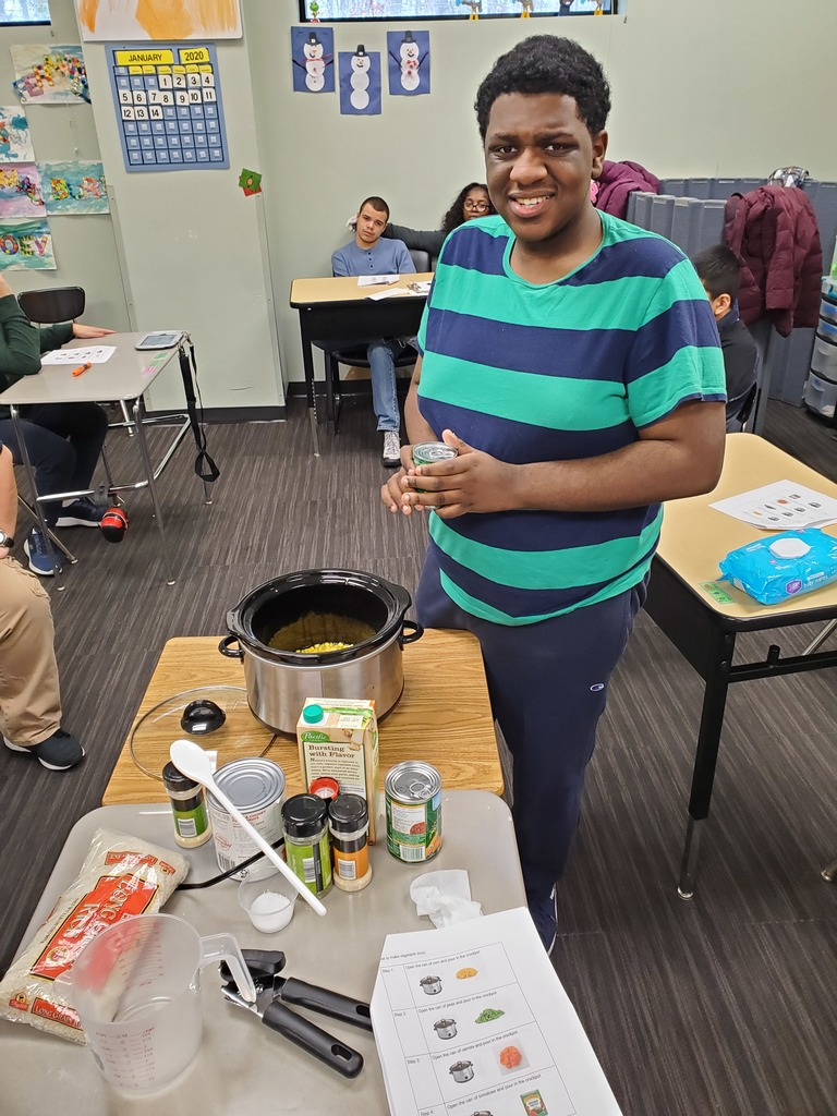 In honor of National Soup Month, Class 6 made Vegetable Soup! The students followed a recipe, measured ingredients, and took turns adding vegetables to the crock pot. The soup was delicious - job well done!